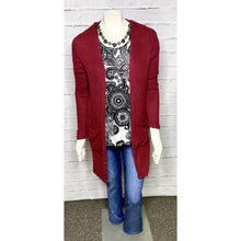 Load image into Gallery viewer, Lightweight Ribbed Burgundy Cardigan