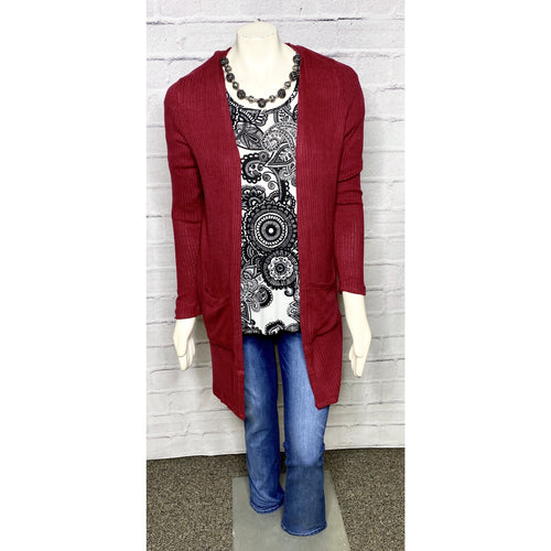 Lightweight Ribbed Burgundy Cardigan
