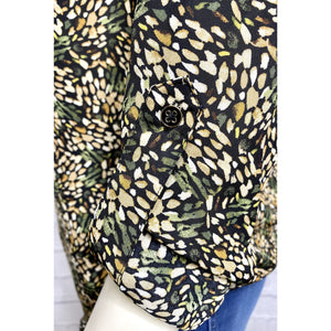 Black/Olive Print Blouse