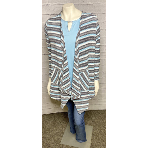 Open Front Chenille Stripe Cardigan