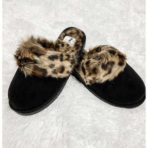 Corky's Snooze Slipper - Black/Leopard