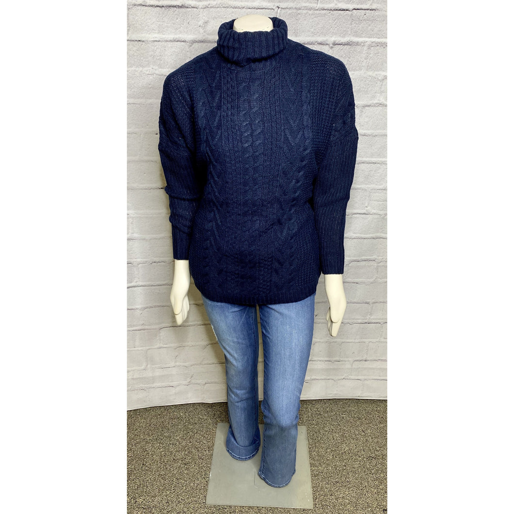 Navy Turtle Neck Cable Knit Dolman