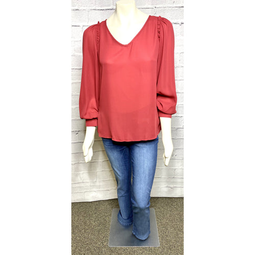 Wine Pin Tuck V-Neck Blouse