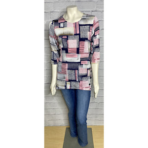 Country Square 3/4 Sleeve Print Top
