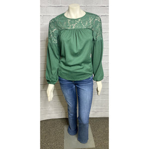 Lace Top Kelly Green Blouse