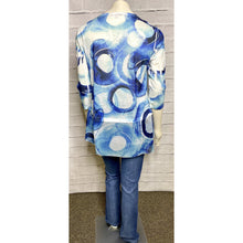 Load image into Gallery viewer, Blue Circle Fabric Overlay Blouse