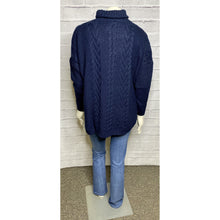 Load image into Gallery viewer, Navy Turtle Neck Cable Knit Dolman