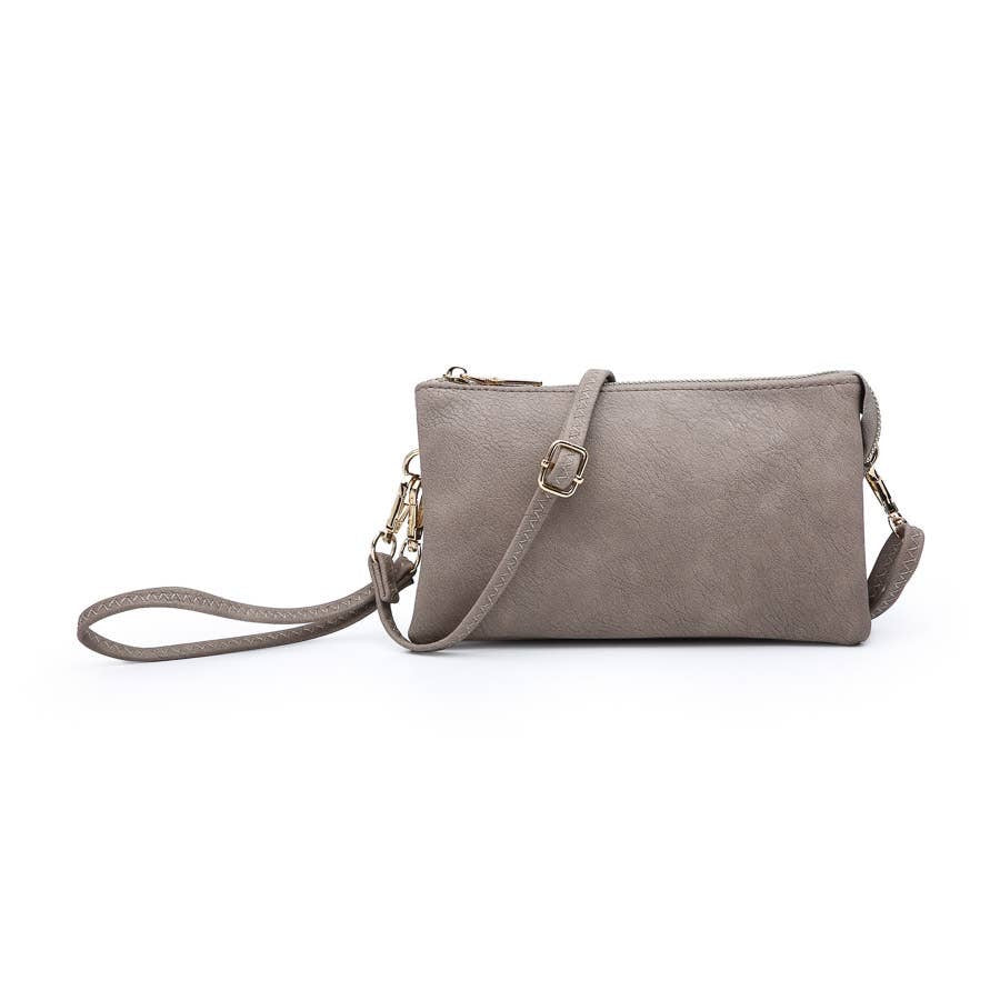 Gray Riley 3 Compartment Wristlet Crossbody