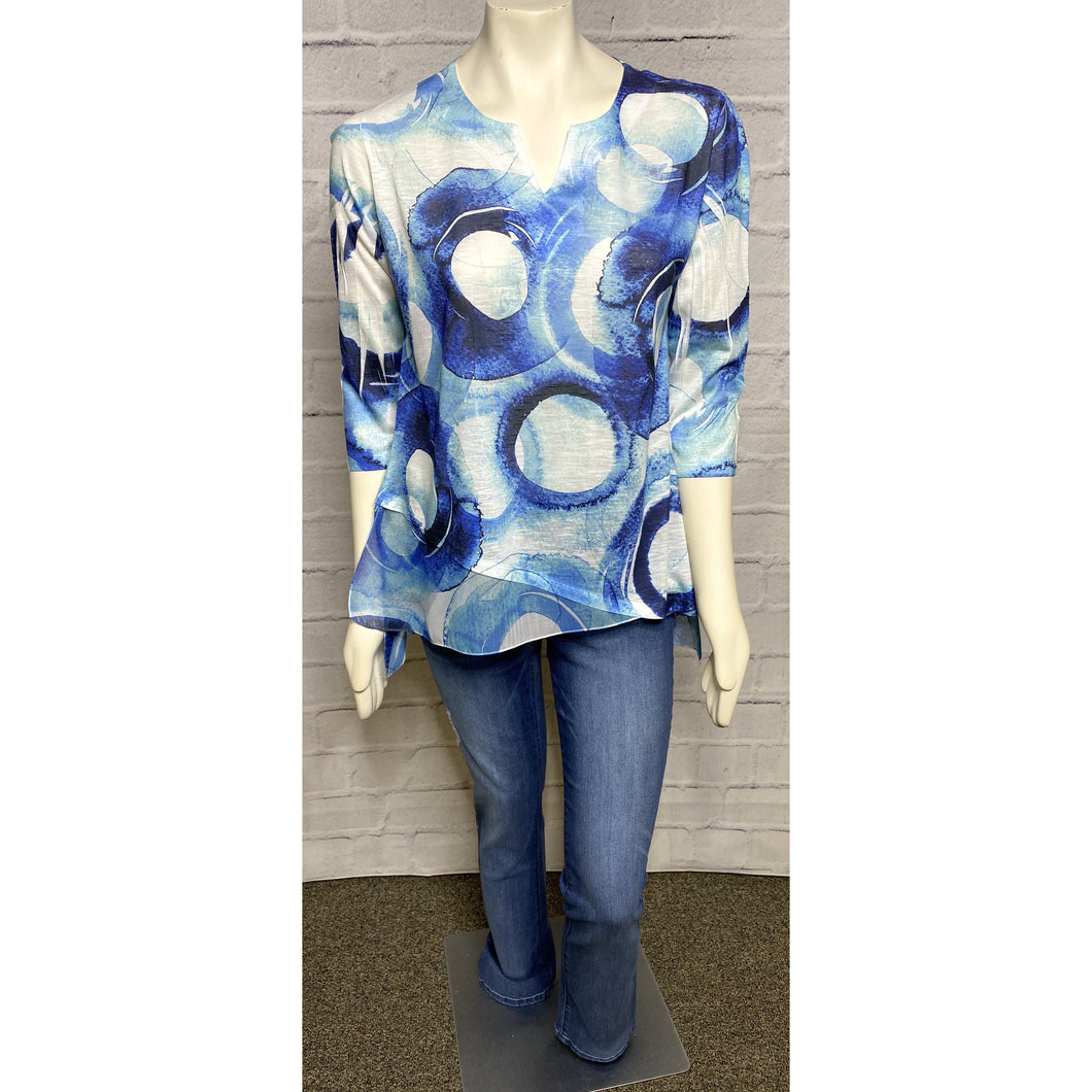 Blue Circle Fabric Overlay Blouse