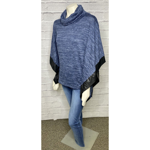 Space Dye Leather Trim Poncho