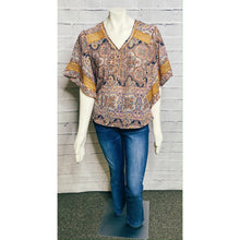 Load image into Gallery viewer, Mustard Lace Print Dolman