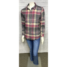Load image into Gallery viewer, Mauve Button Back Plaid Blouse