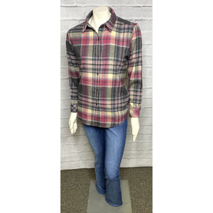 Mauve Button Back Plaid Blouse