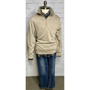 Sueded Patch Quarter Zip Sweater