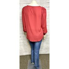 Load image into Gallery viewer, Wine Pin Tuck V-Neck Blouse
