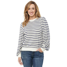 Load image into Gallery viewer, Blouson Puff Navy Stripe Sweatshirt