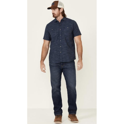 Chambray Indigo Western Style Short Sleeve Button Up