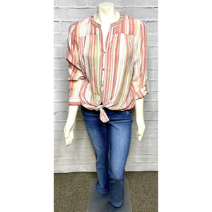 Striped Tab Tie Blouse