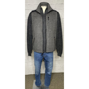 Full Zip Herringbone Charcoal/Black Vest