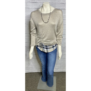 Side Tie Layer Taupe Blouse