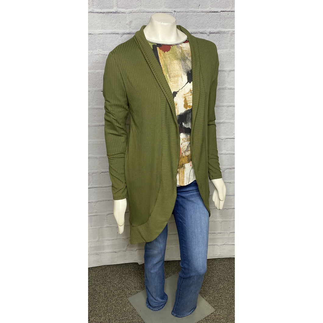 Lightweight Ribbed Olive Cardigan