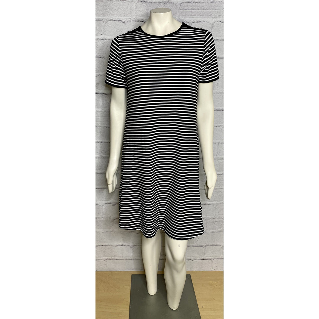 Button Detail Striped Short Sleeve Dress