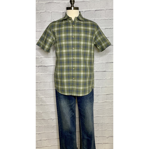 Crosshatch Slub Faded Olive Button Up