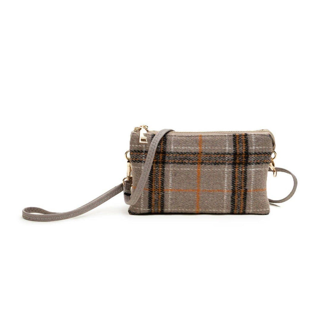 Riley Plaid 3 Compartment Crossbody/Wristlet