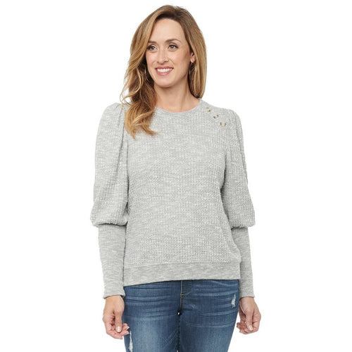 Thermal Knit Button Top