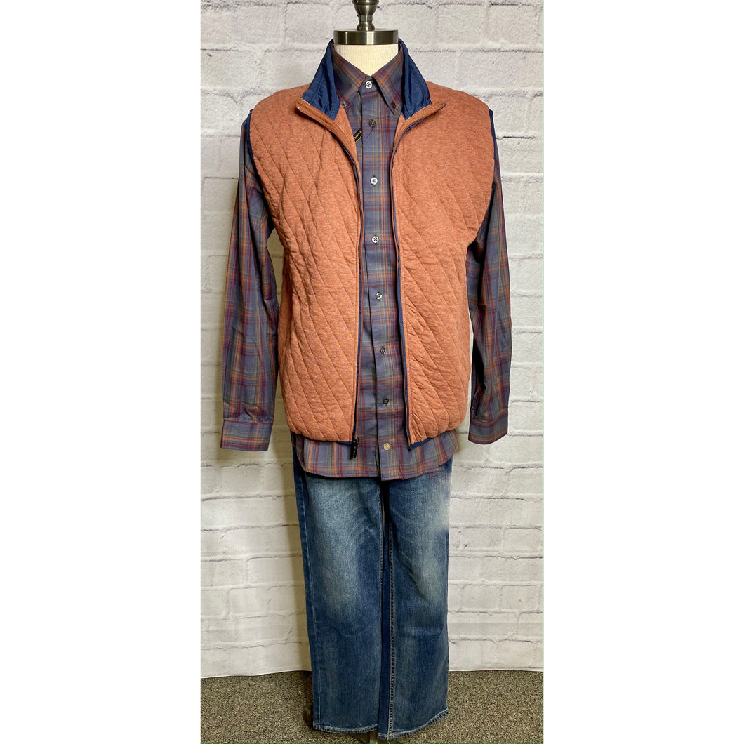 Plaid Rust/Gray Woven Shirt
