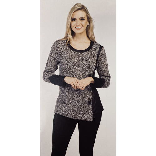 Faux Leather Trim Button Sweater