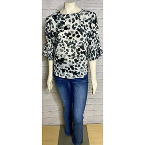 Ruffle Sleeve Animal Print Blouse