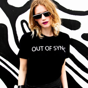 Out of Sync designer logo tee screen printed