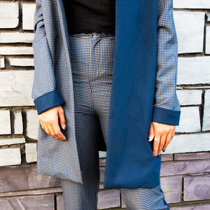 Navy blue contrast check jacket casual relaxed fit