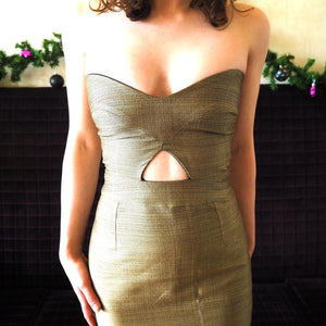 Gold body-con evening party dress
