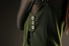 Load image into Gallery viewer, Button detail of the green pinafore dress Out of Sync