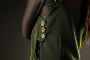 Button detail of the green pinafore dress Out of Sync