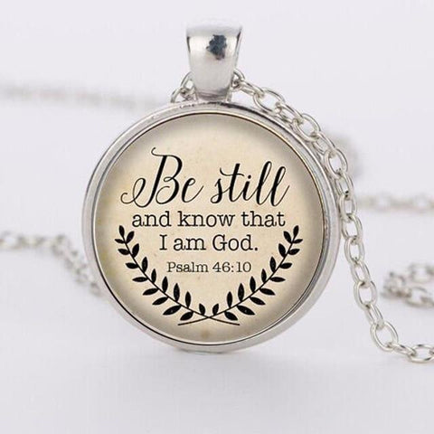 Hot sale Bible Verse Necklace, Be Still and Know That I am God Pendant, Psalm 46:10 Quote Jewelry, Your Choice of Finish HZ1 - Shop Stop Buy