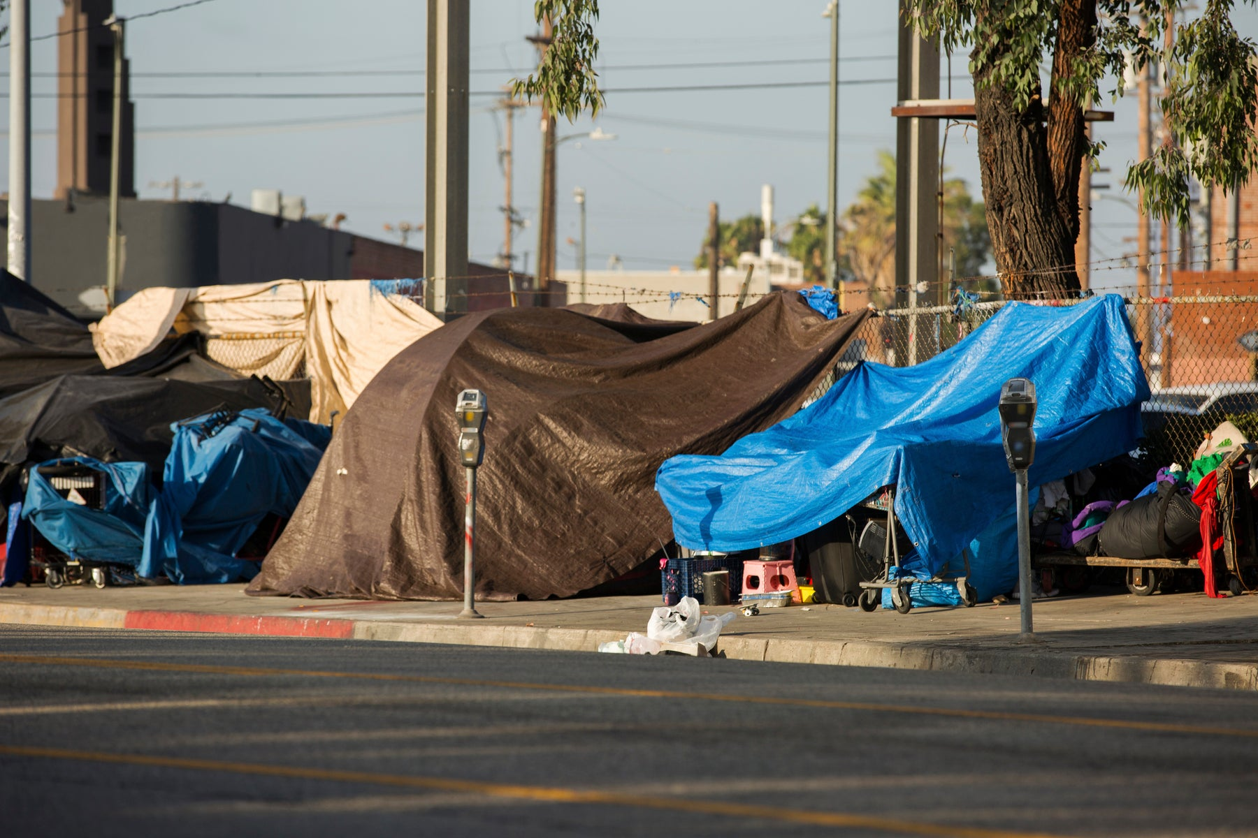 View of the homeless encampments along Central Avenue in Downtown Los Angeles, California