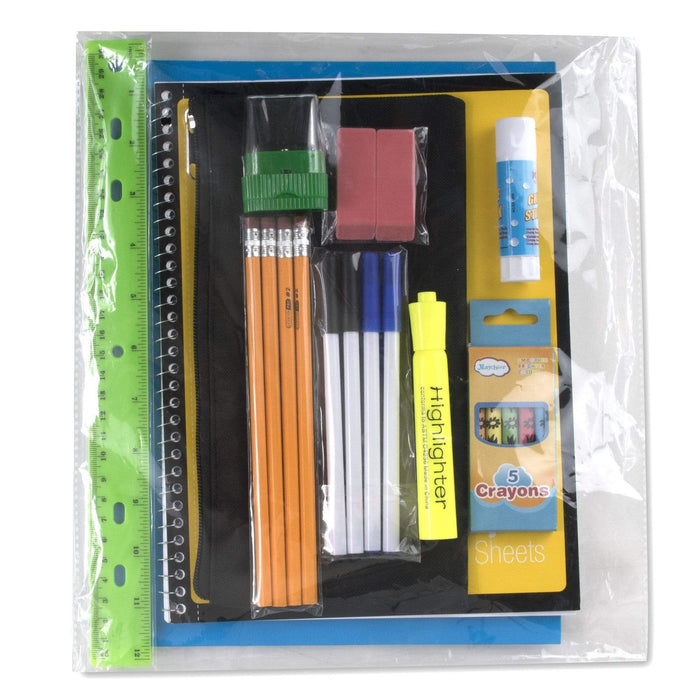 Preassembled 17 Inch Backpack & 20 Piece School Supply Kit - Girls-BagsInBulk.com
