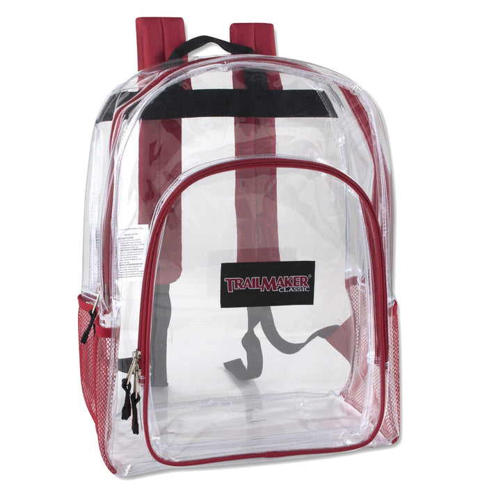 Wholesale Trailmaker Deluxe 17 Inch Clear Backpack - 5 Assorted Colors