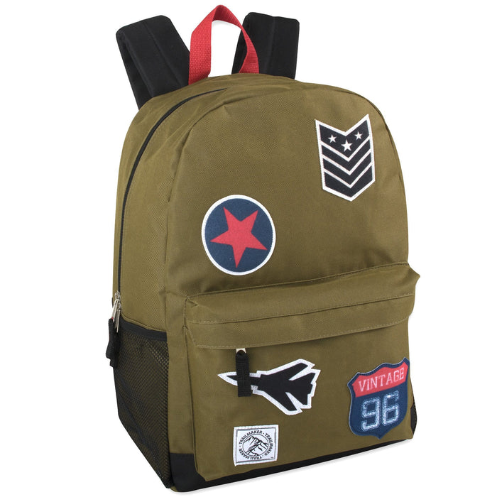 Wholesale 18 Inch Patches Backpack With Side Pockets- Boys -