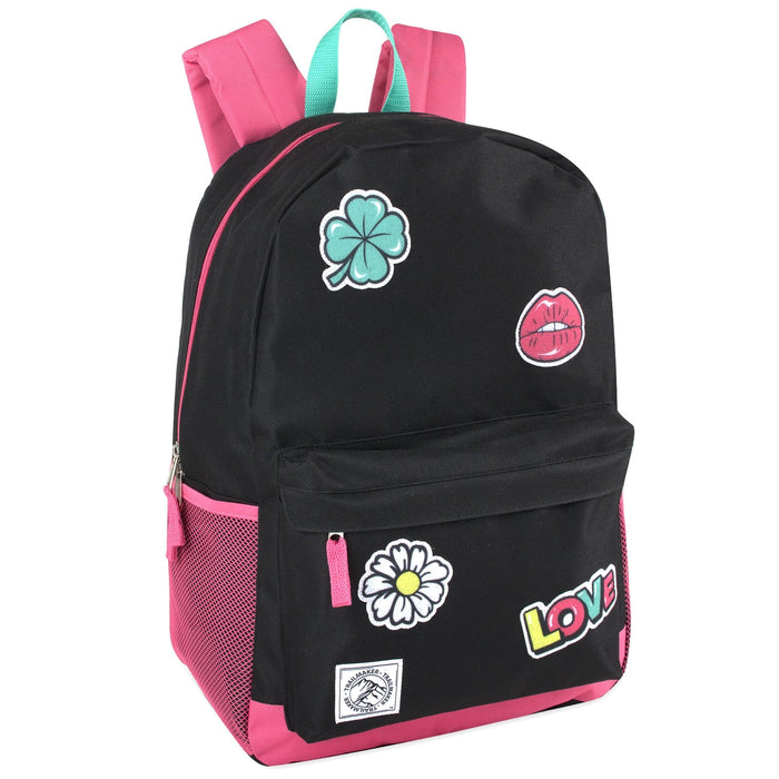 Wholesale 18 Inch Patches Backpack With Side Pockets - Girls