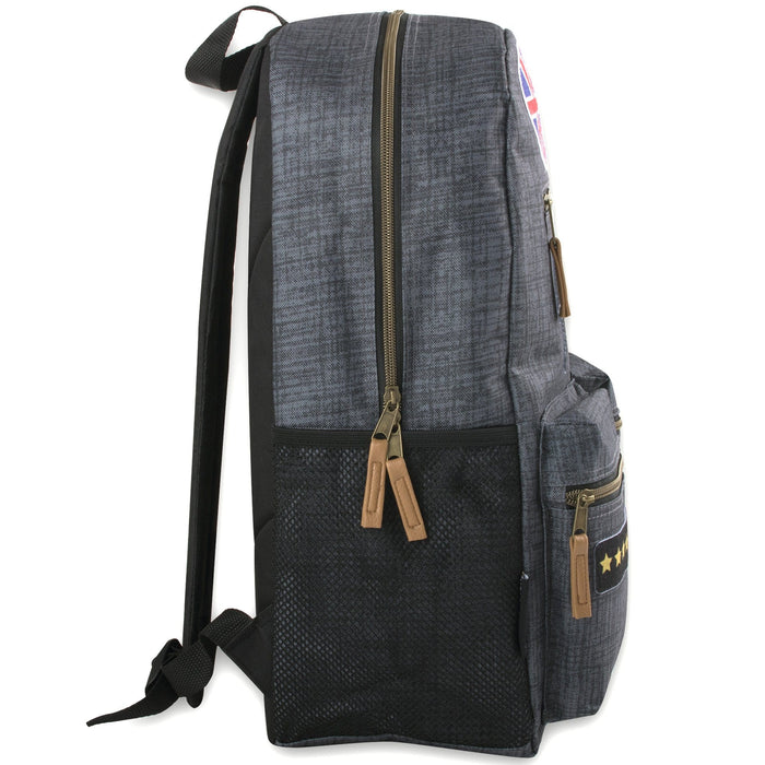 Wholesale 18 Inch Multi Pocket Backpack With Real Patches & Brass Zippers
