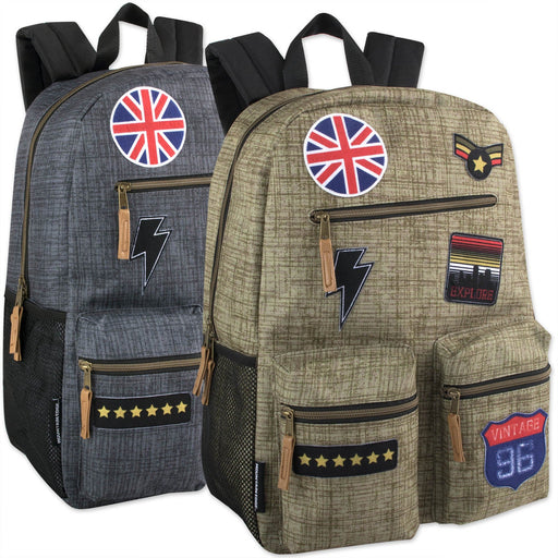 Wholesale 18 Inch Multi Pocket Backpack With Real Patches & Brass Zippers -