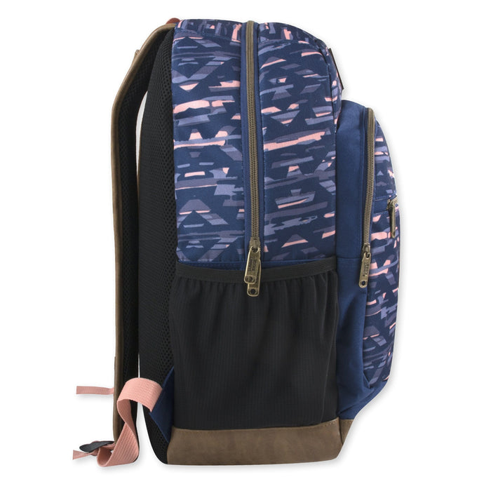 Wholesale 19 Inch Summit Ridge Vinyl Base Backpack With Laptop Sleeve -  Pink & Purple