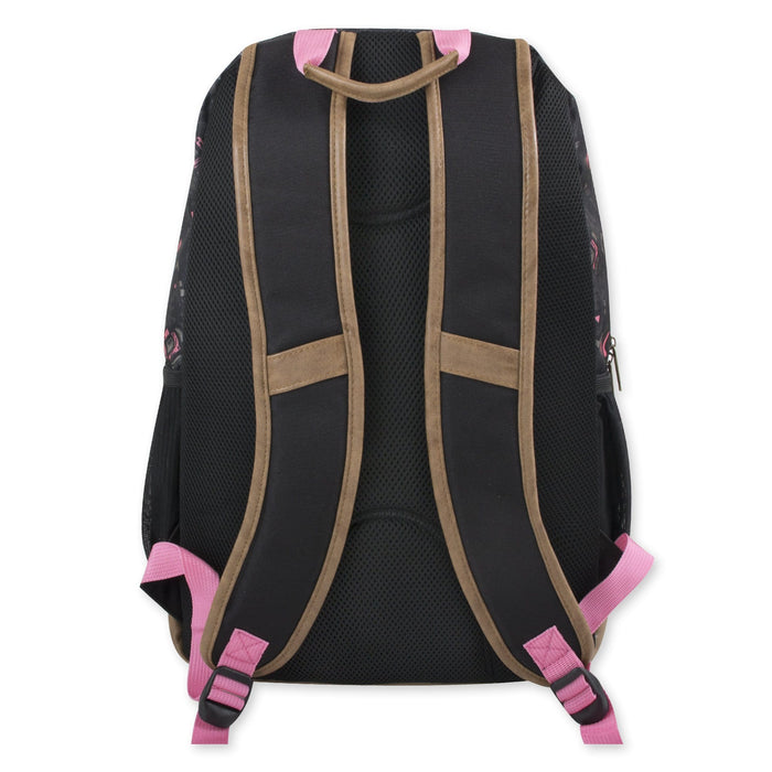 Wholesale 19 Inch Summit Ridge Vinyl Base Backpack With Laptop Sleeve - Pink & Black