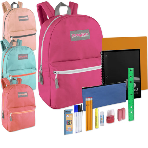 Preassembled 17 Inch Backpack & 12 Piece School Supply Kit - Girls Colors