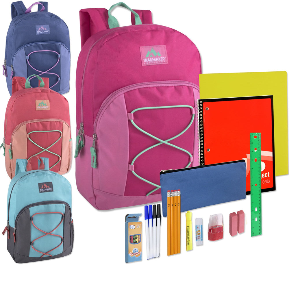 Preassembled 17 Inch Bungee Backpack & 12 Piece School Supply Kit - Girls Colors