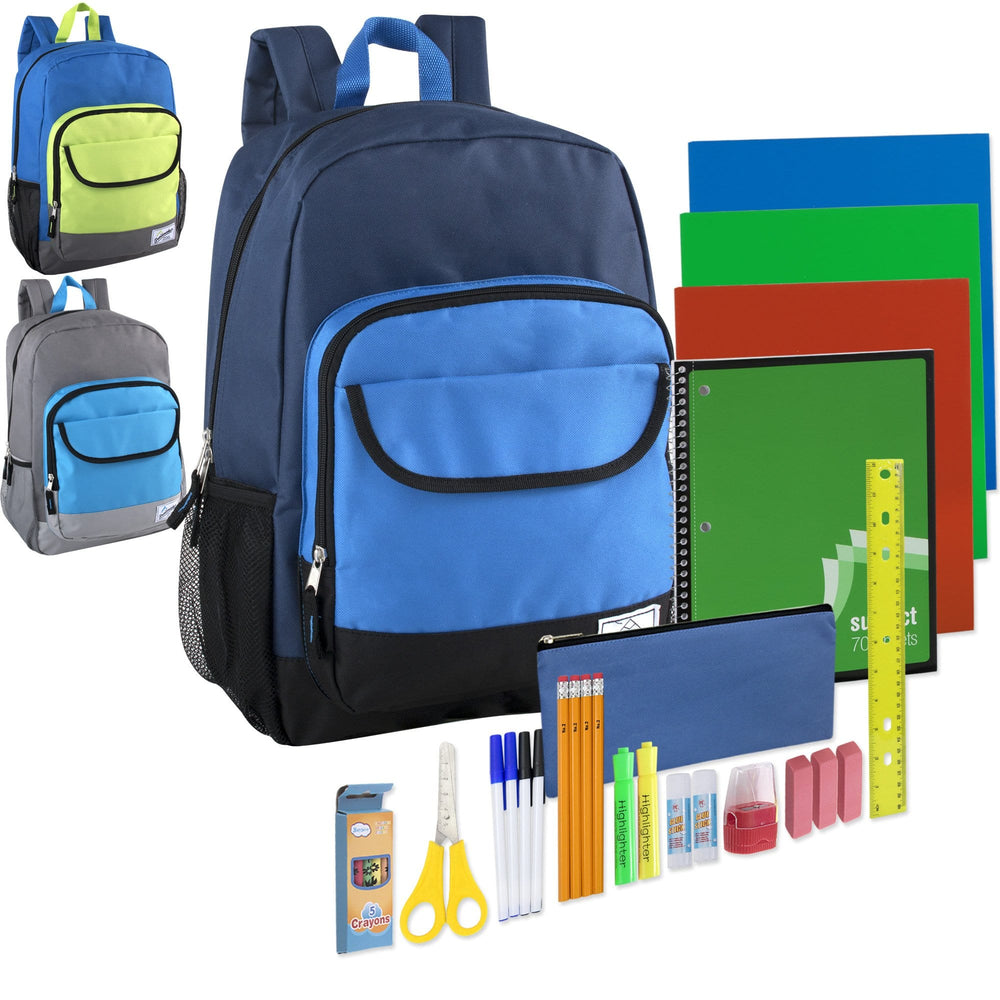 Preassembled 18.5 Inch Color Block Backpack & 18 Piece School Supply Kit - Boys